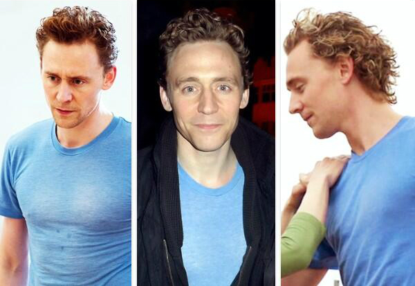 @HiddleMemes Twit de apreciación de la playera azul de Tom Hiddleston. Con bonus #rizos. (vía http://tmblr.co/Zd0xJo1D_0m2n)