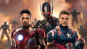 (L to R): Robert Downey Jr as Iron-Man, Ultron, and Chris Evans as Captain America. (Courtesy Marvel)
